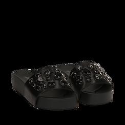 Zeppe nere in eco-pelle con gemme, zeppa 4 cm, Primadonna, 115160026EPNERO035, 002a
