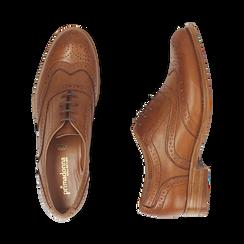 Oxford de piel en color cuero , Zapatos, 159908418PECUOI036, 003 preview