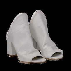 Mules bianche in pelle, tacco 8 cm, Scarpe, 135600917PEBIAN036, 002a