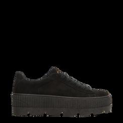 Sneakers nere con suola extra platform zigrinata, 122618776MFNERO035, 001a