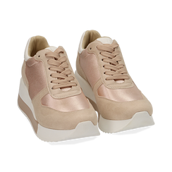 Dad shoes en satin nude, Chaussures, 152821511RSNUDE, 002 preview