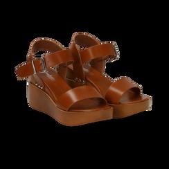 Sandali platform cuoio in eco-pelle, zeppa 7 cm, Primadonna, 132147321EPCUOI035, 002 preview