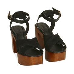Sandales en daim noir, talon de 10,5 cm, 174304899CMNERO035, 002a