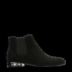 Chelsea Boots neri scamosciati, tacco basso scintillante, Primadonna, 124911285MFNERO035, 001a