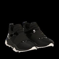 Sneakers senza lacci nere in lycra, con dettagli in vernice, Scarpe, 145017483LYNERO036, 002a