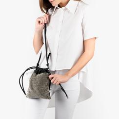 Mini saco en eco-piel y pedrería color negro, Primadonna, 15F520055ETNEROUNI, 002a