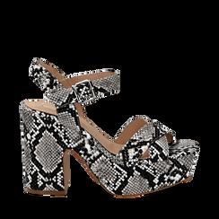Sandali con plateau bianco/neri in eco-pelle, effetto snake skin, tacco 11 cm , Sandali con tacco, 134903269PTBINE035, 001a