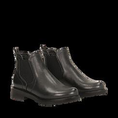 Chelsea boots neri in eco-pelle, Stivaletti, 140802204EPNERO035, 002a