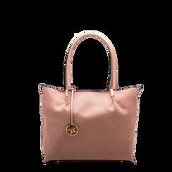 Maxi-bag a spalla rosa in microfibra scamosciata, Saldi, 125702033MFNUDEUNI, 001a