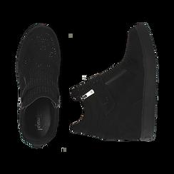 Slip-on nere in microfibra con brillantini, zeppa interna 8 cm, Scarpe, 149313816MFNERO035, 003 preview