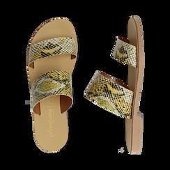 Mules flat gialle in vernice effetto snake skin, Saldi Estivi, 136767003PTGIAL035, 003 preview