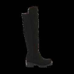 Stivali overknee neri in microfibra, tacco 4 cm , Primadonna, 163025001MFNERO036, 001 preview