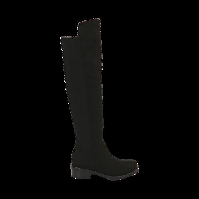 Stivali overknee neri in microfibra, tacco 4 cm , Primadonna, 163025001MFNERO037