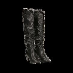 Stivali sopra il ginocchio neri, tacco cono 8 cm, Scarpe, 124995700EPNERO036, 002