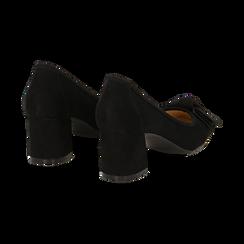 Décolleté nere in microfibra con fiocco, tacco a trapezio 5,5 cm, Scarpe, 132182281MFNERO036, 004 preview
