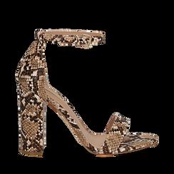 Sandali beige in eco-pelle effetto snake skin, tacco 10,50 cm, Sandali con tacco, 132706086PTBEIG035, 001a