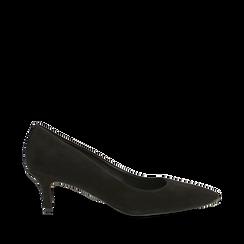 Décolleté nere Kitten heels in vero camoscio, tacco 3 cm, Primadonna, 12D617210CMNERO037, 001a