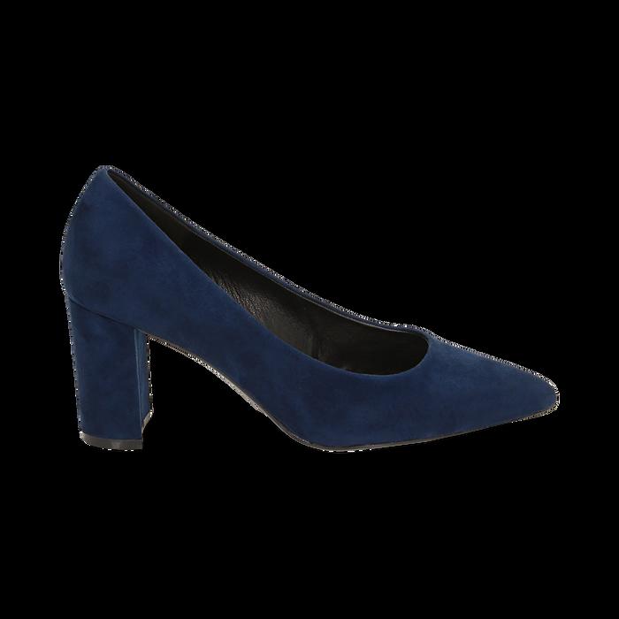 Décolleté blu in microfibra, tacco 7,50 cm , Primadonna, 162187081MFBLUE035