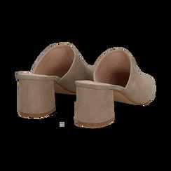 Mules taupe in camoscio con punta affusolata, tacco 6 cm, Scarpe, 13D602204CMTAUP036, 004 preview