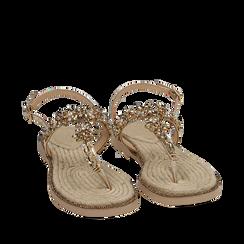 Sandali infradito oro laminati con pietre, Chaussures, 154950331LMOROG036, 002a