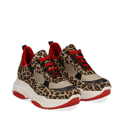Dad shoes leopard in vera pelle, suola 5 cm, Scarpe, 13A600999CWLEOP036, 002a