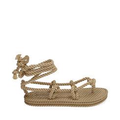 Sandalias de mar beige de tela, Primadonna, 170909004TSBEIG035, 001a
