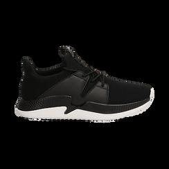Sneakers nere in tessuto tecnico e suola wave, Scarpe, 132619310TSNERO036, 001 preview