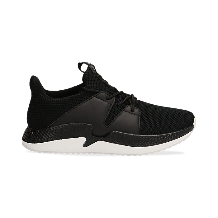 Sneakers nere in tessuto tecnico e suola wave, Scarpe, 132619310TSNERO036