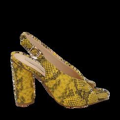 Slingback open-toe giallo/nere stampa pitone, tacco 10 cm, Scarpe, 152708372PTGIAL035, 001a