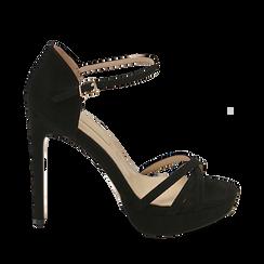 CALZATURA SANDALO MICROFIBRA NERO, Chaussures, 152118123MFNERO040, 001a