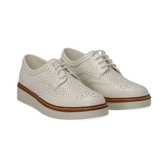 Stringate flatform bianche in eco-pelle, Scarpe, 133009503EPBIAN037, 002 preview