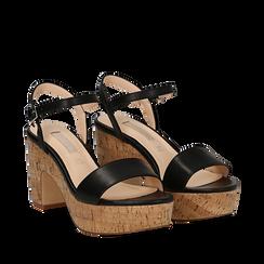 Sandali neri in eco-pelle, tacco in sughero 9 cm , Saldi Estivi, 138402256EPNERO035, 002a