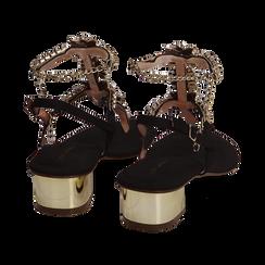 Sandali neri in microfibra con pietre, tacco 3,5 cm, Primadonna, 154927101MFNERO036, 004 preview