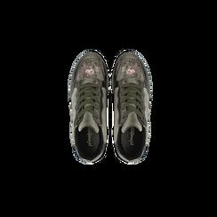 Sneakers taupe  con ricami floreali velluto, Scarpe, 121617734VLTAUP, 004 preview