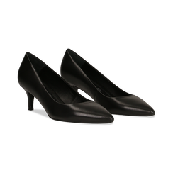 Décolleté nere Kitten heels in vero camoscio, tacco 3 cm, Primadonna, 12D617210VINERO, 002 preview