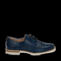 Stringate blu in eco-pelle con lavorazione Duilio, Scarpe, 130609561EPBLUE036, 001a