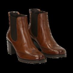 Ankle boots cuoio in pelle, tacco 6 cm , Stivaletti, 147711432PECUOI036, 002 preview