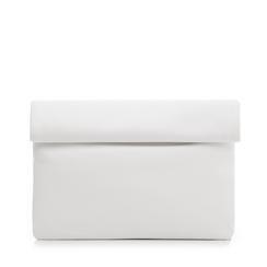 Bustina bianca in eco-pelle, ripiegata su sè stessa, Borse, 113308590EPBIANUNI, 001a