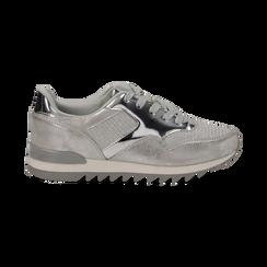 Sneakers argento in tessuto laminato e dettagli mirror, Scarpe, 130100107LMARGE036, 001 preview