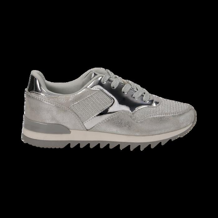 Sneakers argento in tessuto laminato e dettagli mirror, Scarpe, 130100107LMARGE036