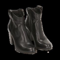 Botines en piel color negro, tacón 7,50 cm, Primadonna, 157725926PENERO035, 002 preview