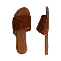 Mules flat cuoio in eco-pelle intrecciata, Primadonna, 133600110EICUOI035, 003 preview