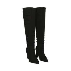 Stivali overknee neri in microfibra, tacco 9,50 cm , Primadonna, 164988612MFNERO035, 002 preview