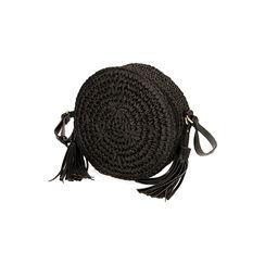 Borsa piccola nera in rafia, Primadonna, 175123102RFNEROUNI, 002 preview
