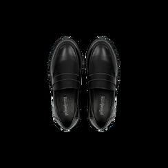 Mocassini neri con suola alta, tacco basso, Scarpe, 120639018EPNERO, 004 preview