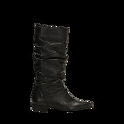 Stivali Neri in vera pelle con gambale morbido, tacco 2,5 cm, 128900900VINERO035, 001a