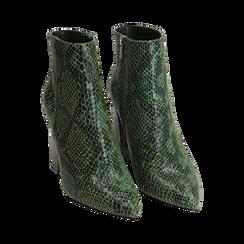 Ankle boots verdi in eco-pelle stampa pitone, tacco 9,5 cm , Primadonna, 142186672PTVERD035, 002 preview