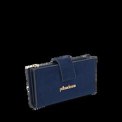 Portafogli blu in microfibra, IDEE REGALO, 165122158MFBLUEUNI, 002a