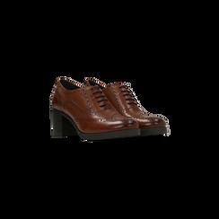 Francesine stringate in vera pelle color cuoio, tacco medio, Primadonna, 127711405PECUOI, 002 preview