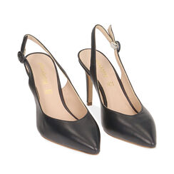 Slingback azul de piel, tacón 9 cm, Zapatos, 15D601002VIBLUE035, 002a
